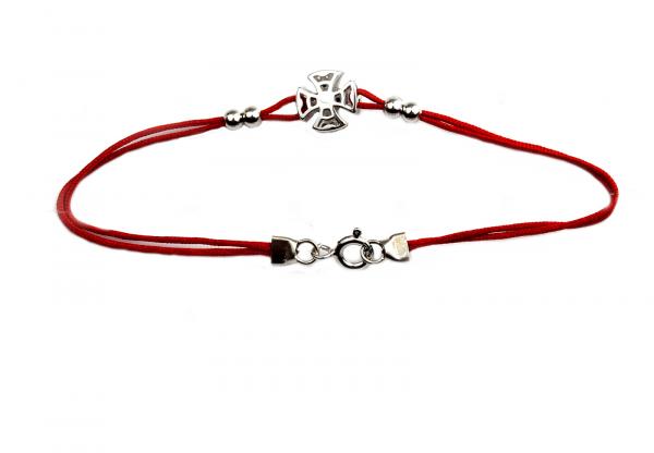 Bratara snur rosu cu pandant argint rodiat - DA149 1