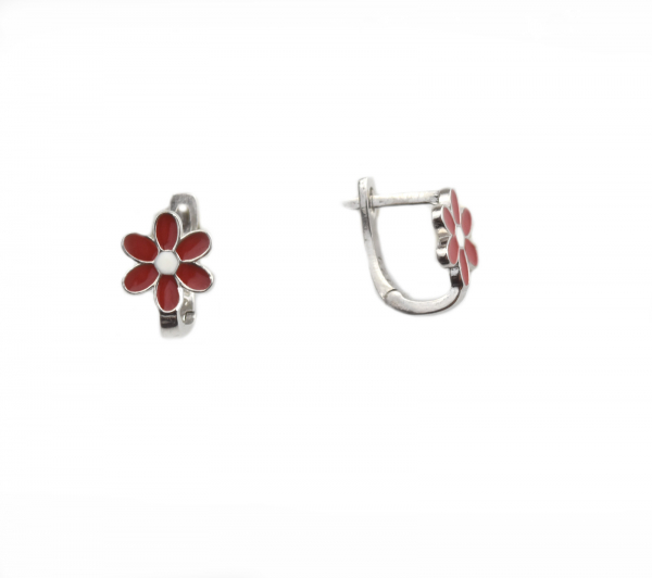 Cercei argint floricele rosii - DA145 0