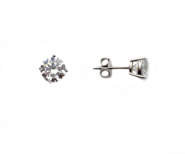 Cercei argint rodiat cu zirconiu rotund - DA152