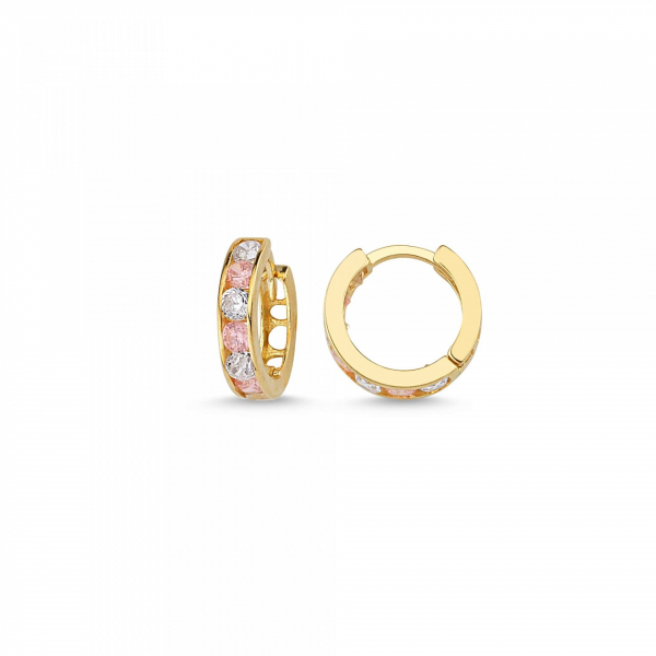 Cercei aur galben copii cu zirconia roz - DA236 0