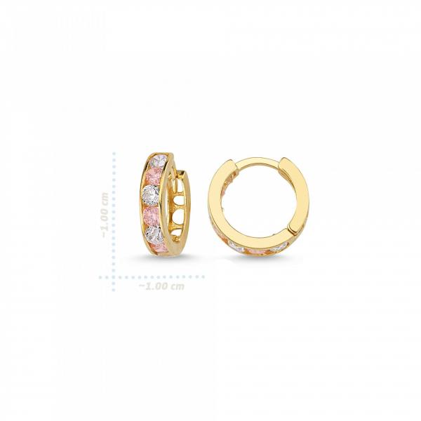 Cercei aur galben copii cu zirconia roz - DA236 1