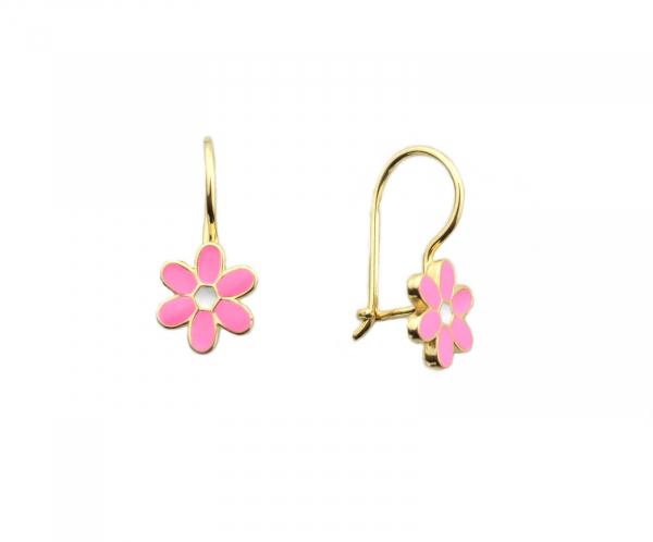 Cercei aur galben copii floricele roz - DA269
