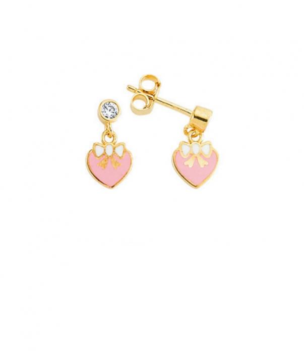 Cercei aur galben copii inimioare roz - DA467 [0]