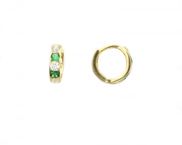 Cercei aur galben copii zirconiu verde - DA268