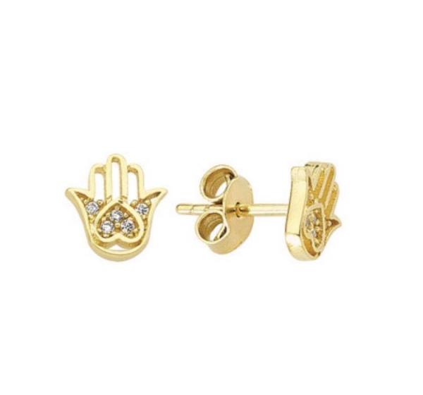 Cercei aur galben cu mana Fatimei - DA355 0