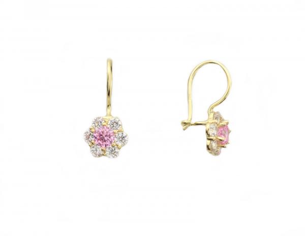 Cercei aur galben cu zirconiu roz si alb - DA271
