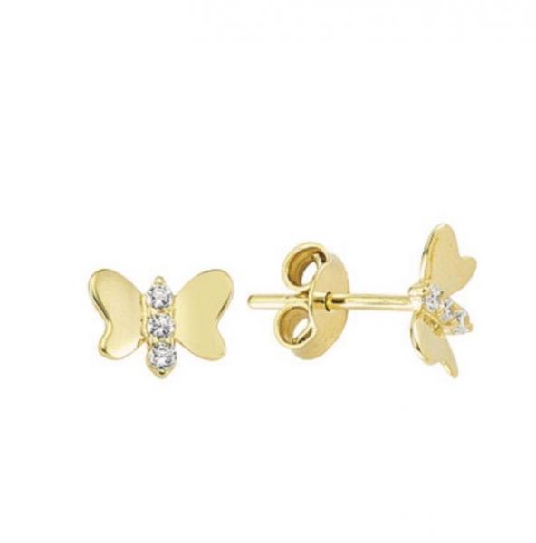 Cercei aur galben fluturasi cu zirconia - DA350 0