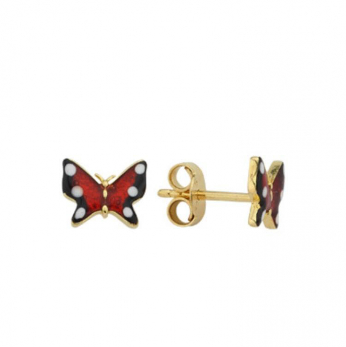 Cercei aur galben fluturi rosii - DA462 [0]