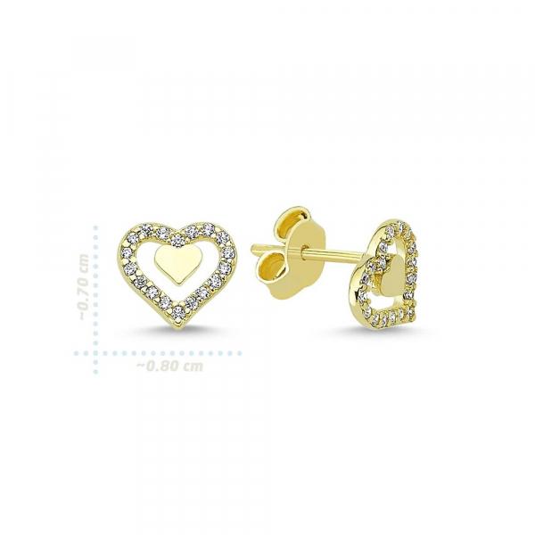 Cercei aur galben inimioare cu zirconia - DA336 1