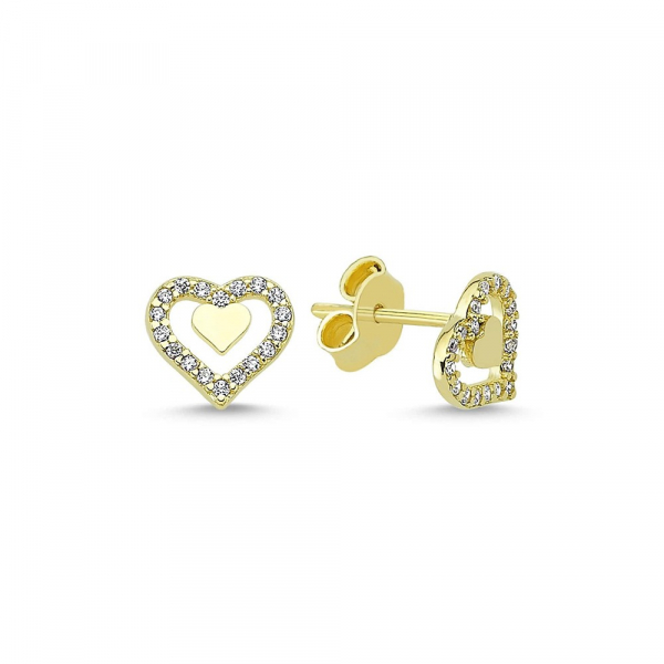 Cercei aur galben inimioare cu zirconia - DA336 0