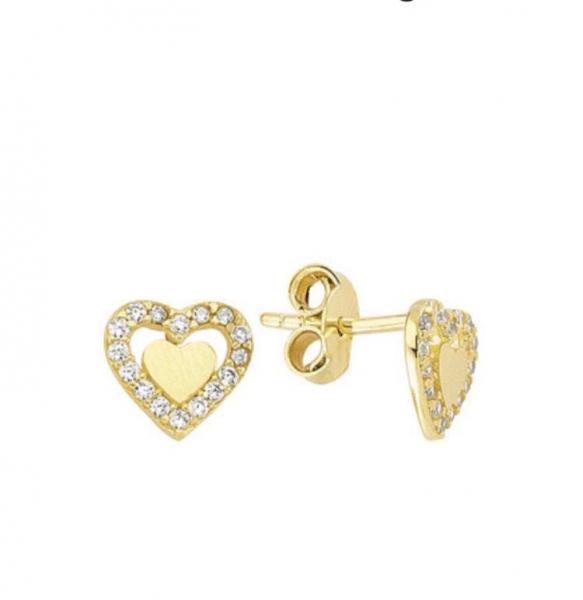 Cercei aur galben inimioare cu zirconia - DA349 0