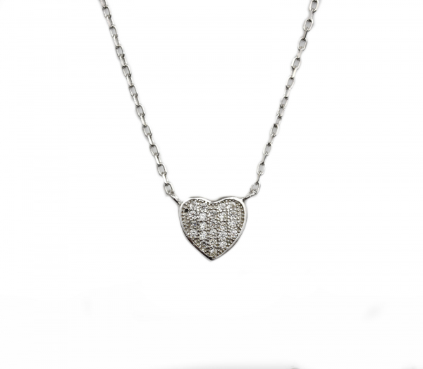 Colier argint rodiat inimioara - DA124 0