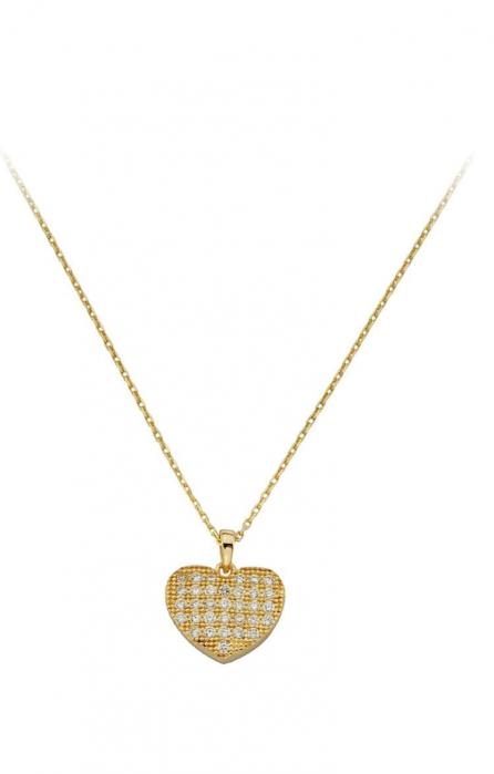 Colier aur galben 14k  cu pandant inima - FT456 [0]