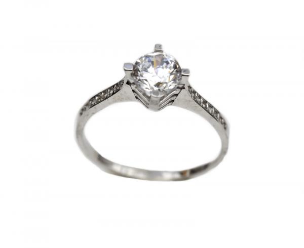 Inel aur alb logodna cu zirconia - DA323 0
