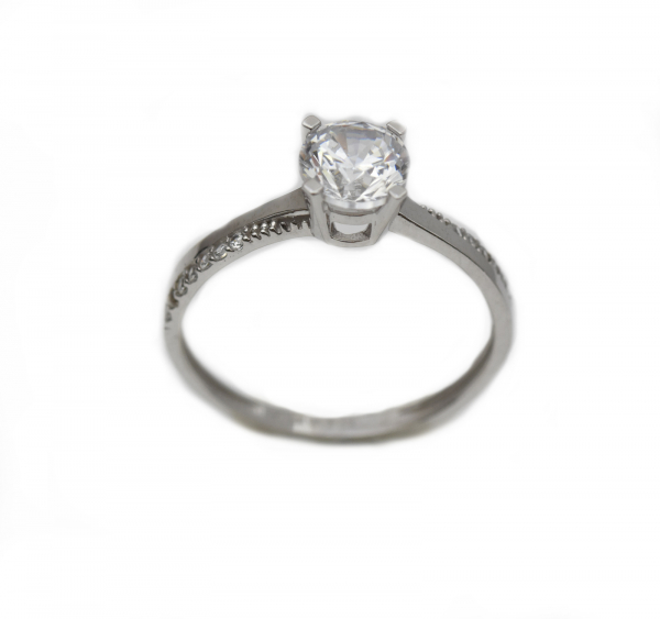 Inel aur alb logodna cu zirconiu - DA300