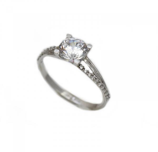 Inel aur alb logodna cu zirconia - DA301 0