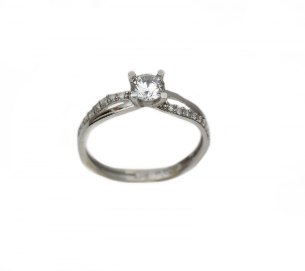 Inel aur alb logodna cu zirconia - DA309 0