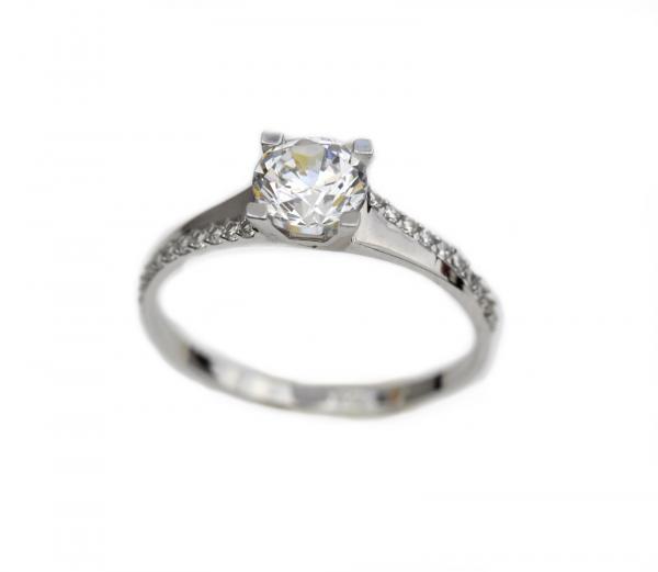 Inel aur alb logodna cu zirconia - DA316 0