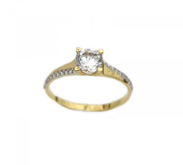 Inel aur galben logodna cu zirconiu - DA284