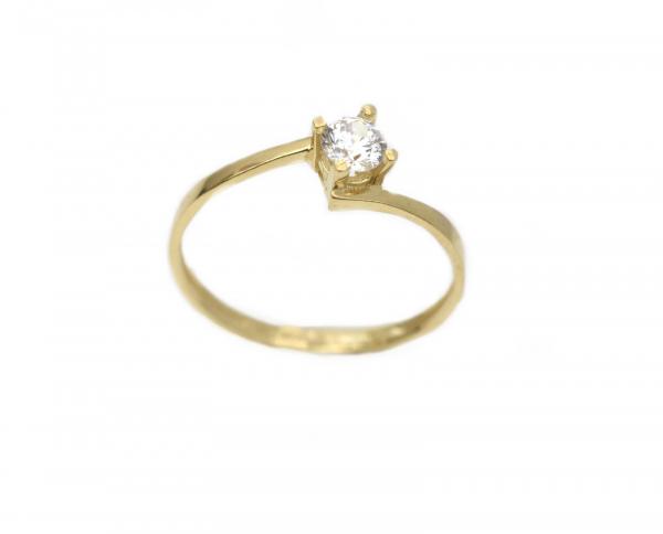 Inel aur galben logodna cu zirconia - DA286 0