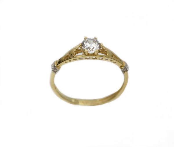 Inel aur galben logodna cu zirconia - DA287 0