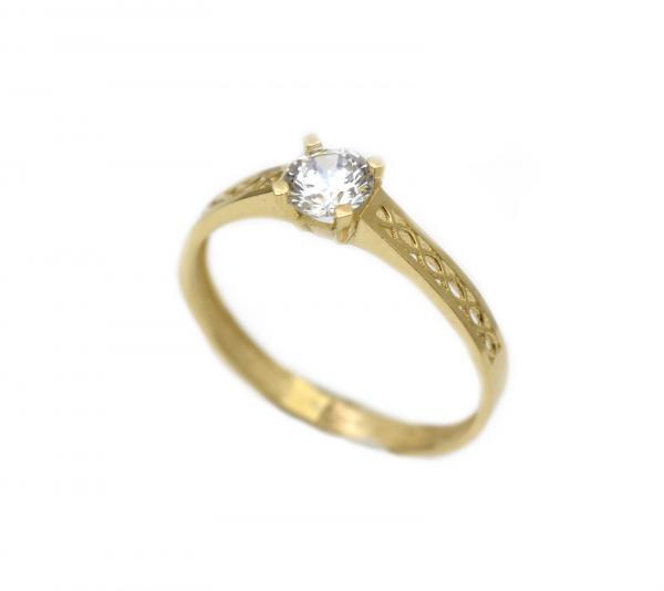 Inel aur galben logodna cu zirconiu - DA288