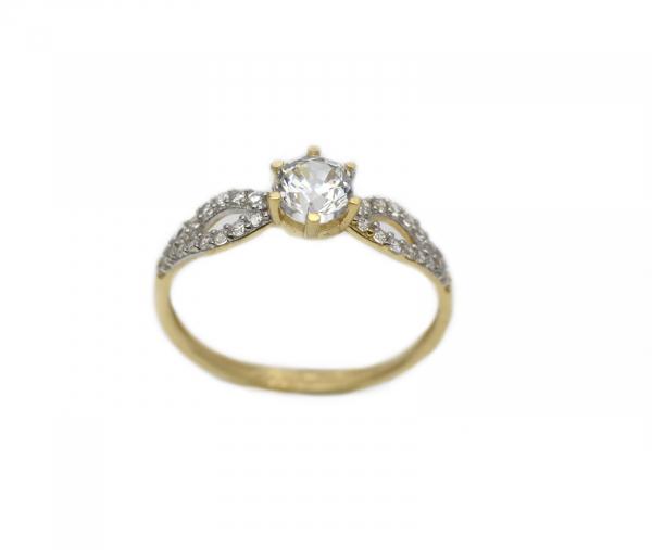 Inel aur galben logodna cu zirconia - DA290 0