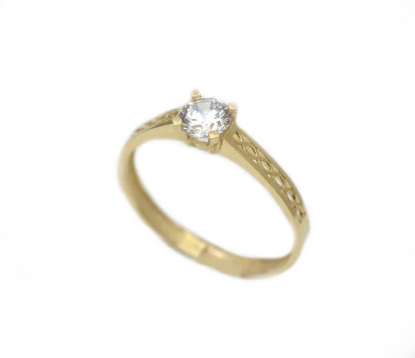 Inel aur galben logodna cu zirconia - DA294 0