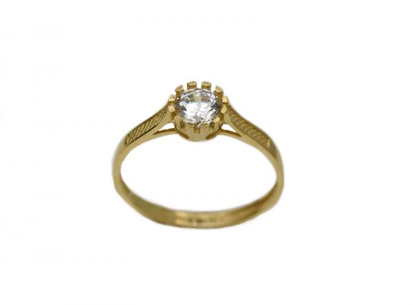 Inel aur galben logodna cu zirconiu - DA298