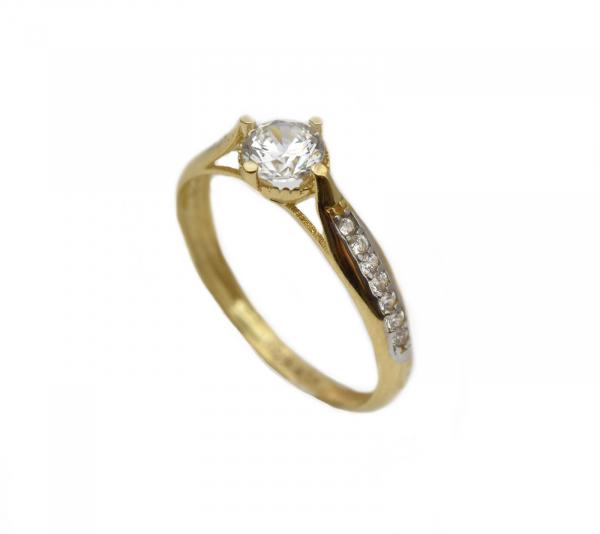 Inel aur galben logodna cu zirconia - DA299 0