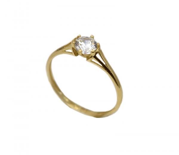 Inel aur galben logodna cu zirconia - DA302 0