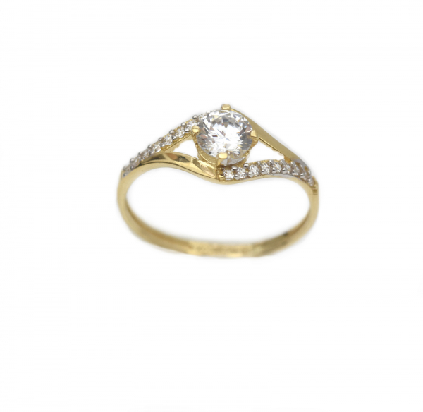 Inel aur galben logodna cu zirconia - DA303 0