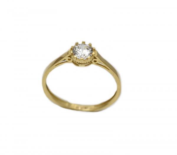 Inel aur galben logodna cu zirconia - DA305 0
