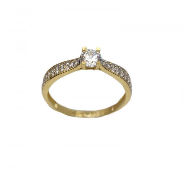 Inel aur galben logodna cu zirconia - DA307 0