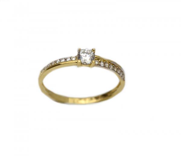 Inel aur galben logodna cu zirconia - DA308 0