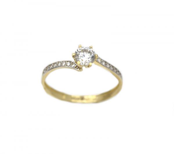 Inel aur galben logodna cu zirconia - DA311 0