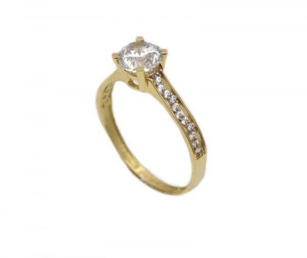 Inel aur galben logodna cu zirconia - DA312 0