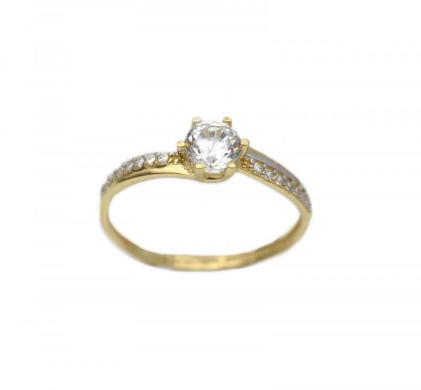 Inel aur galben logodna cu zirconia - DA313 0