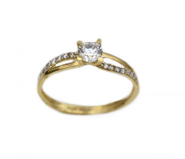 Inel aur galben logodna cu zirconia - DA318 0
