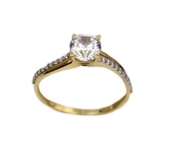 Inel aur galben logodna cu zirconia - DA319 0
