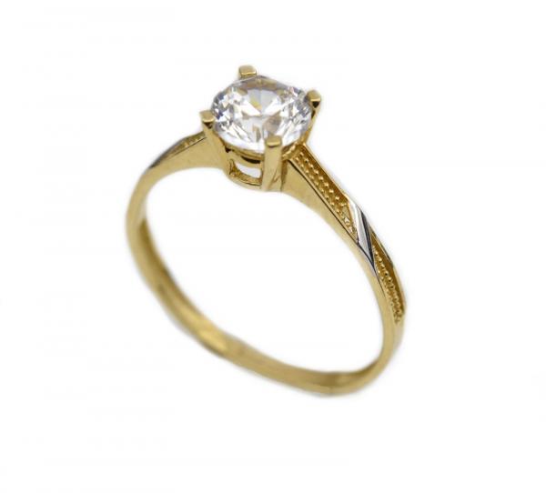 Inel aur galben si alb logodna cu zirconia - DA322 0