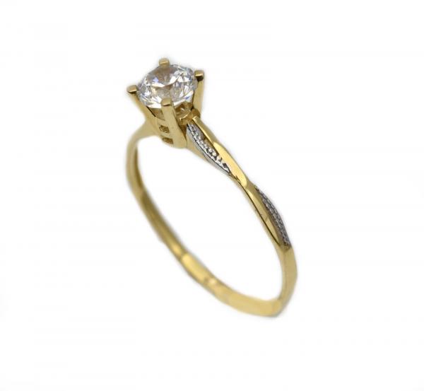 Inel aur galben si alb logodna cu zirconia - DA314 0