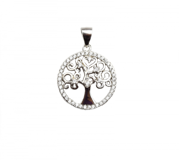Pandant argint arborele vietii cu zirconia - DA105 0