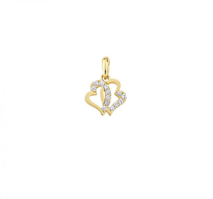 Pandant aur galben inimioare- DA479 [0]