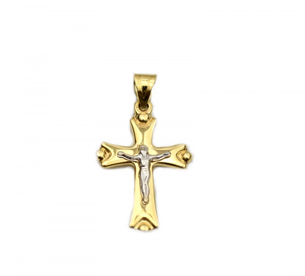 Pandant cruciulita aur galben cu Iisus - DA251