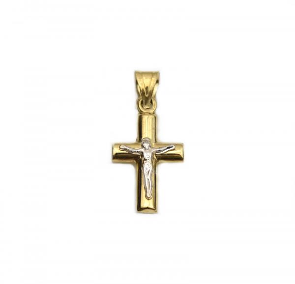 Pandant cruciulita aur galben si alb Iisus - DA252 0