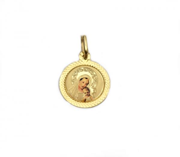 Pandant rotund aur galben Maica Domnului - DA248 0