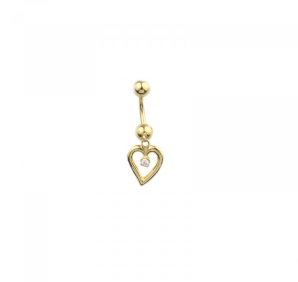 Piercing aur galben buric cu inimioara - DA448 0
