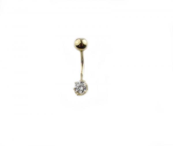 Piercing aur galben buric cu zirconia - DA344 0