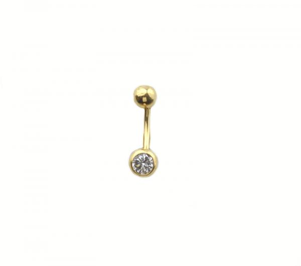 Piercing aur galben buric cu zirconiu - DA295